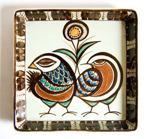 Royal Copenhagen Aluminia Bird Design Bowl