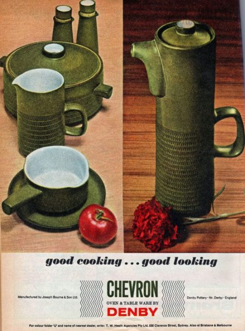 Denby Chevron Ad, Home Beautiful Australia 1966