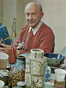 """Nils Thorsson in his studio in 1972. Image from the book """"The Royal Copenhagen Porcelain Manufactory 1775-1975"""" Published by Royal Copenhagen, English Edition 1975 - ISBN 87-980342-1-9"""