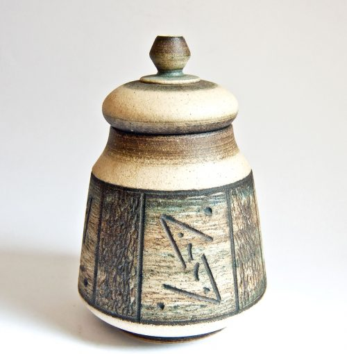 Gemma DeRidder, Lidded Jar, Fish Symbol