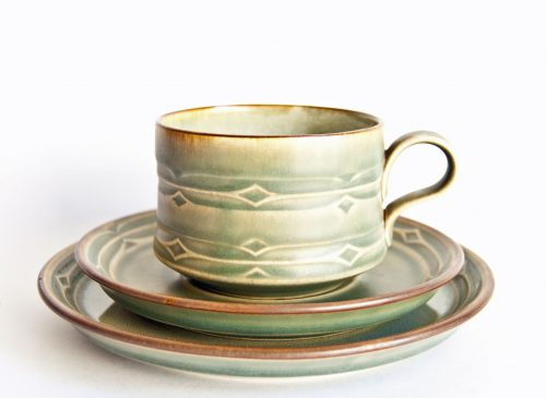 Rune Design Cup, Saucer, Plate, Jens Quistgaard for Kronjyden Nissen