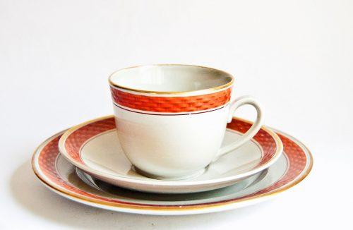 Aluminia Royal Copenhagen Tureby Cup, Saucer, Plate