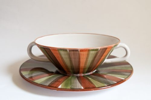 Bangholm Denmark Bowl and Plate with Striped Glaze