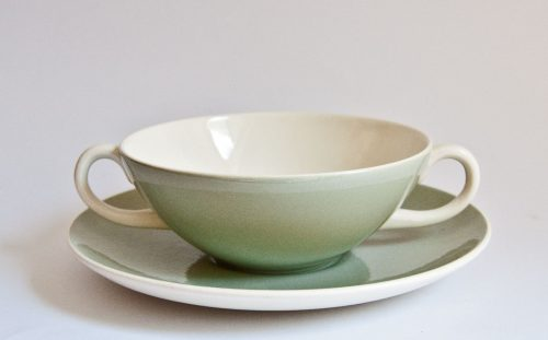 Poole Cameo Celadon Creme Soup Cup