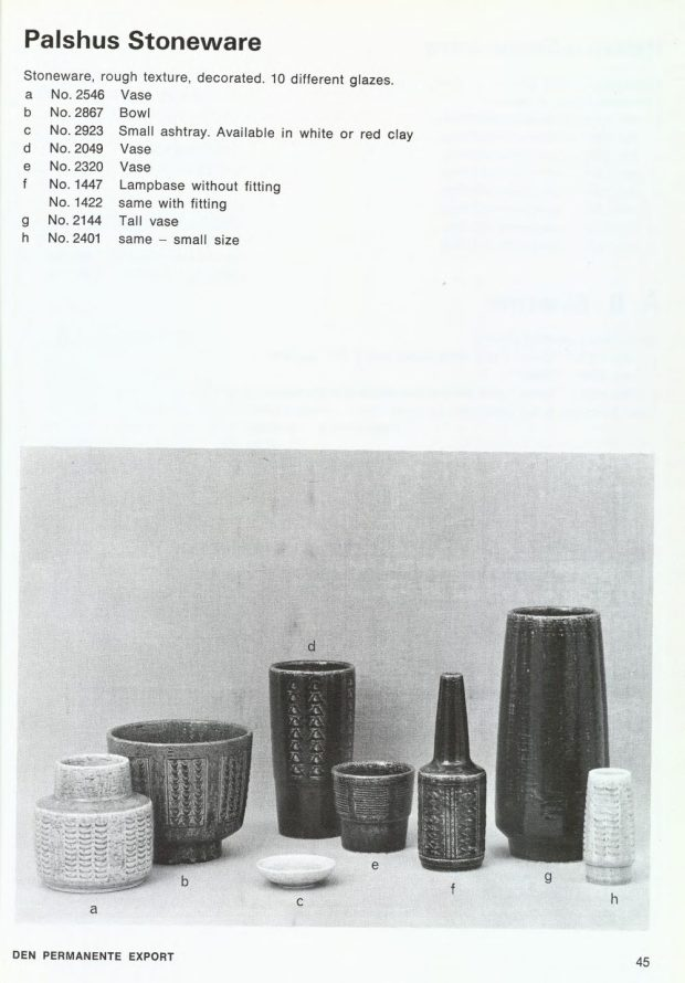 Palshus Items - Den Permanente Catalogue 1967