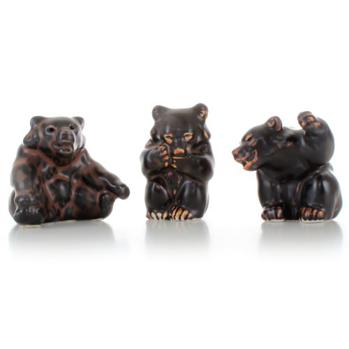 Knud Kyhn, 3 Bear Figurines, Royal Copenhagen