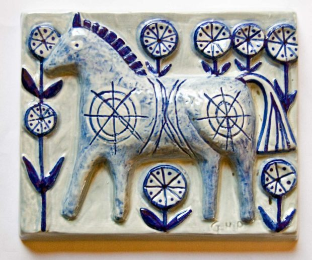 Gerd Hjort Petersen, Soholm Denmark Wall Plaque with Horse