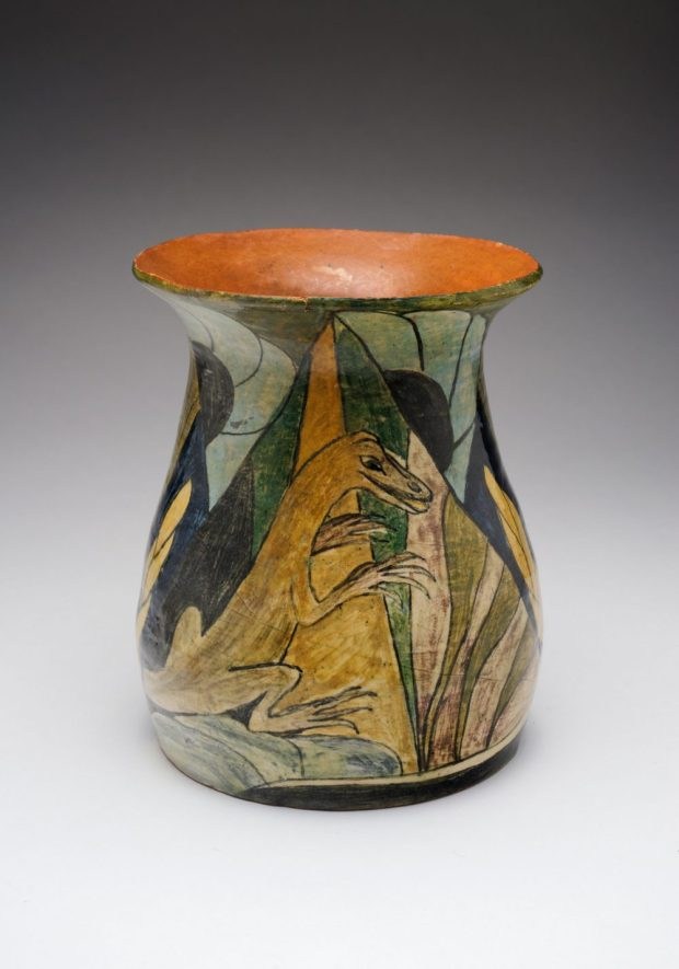 Elizabeth Lissaman, Vase with lizards,1926. Earthenware with underglaze decoration Gabby Cox Collection. Image: Haru-Sameshimajpg