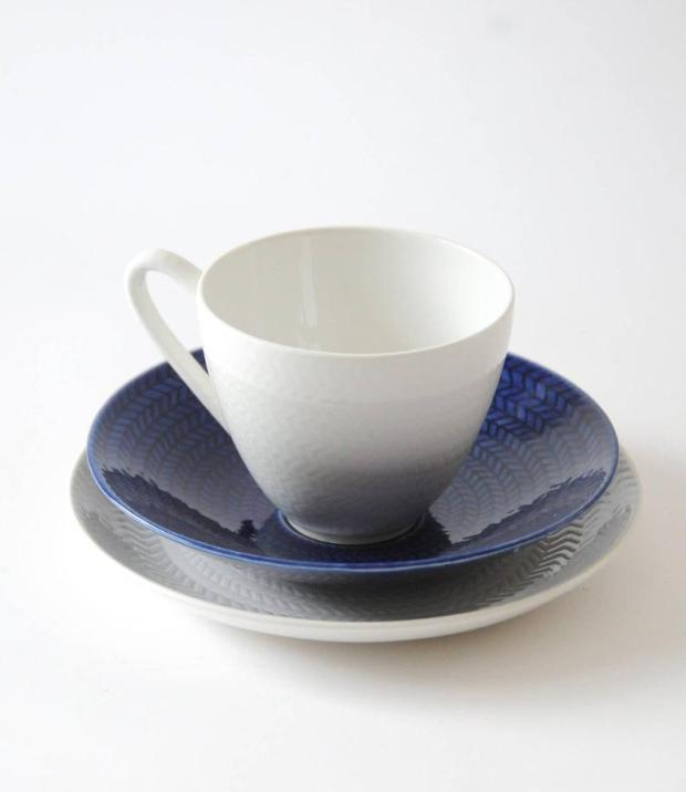 Rorstrand Blue Fire with White Cup & Saucer,